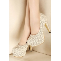 Elegant Sexy Floral Lace Sliced Sequin High-heeled Party Shoes
