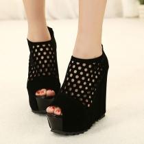 Solid Color Peep Toe Cut Out Black Platform Sandal High Wedge Shoes