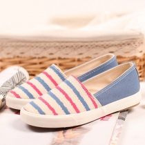 Candy Color Stripe Canvas Flat Shoes Slip On Loafer