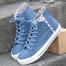 Fashion Floral Print Lace Up High-top Canvas Shoes