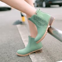Fashion 3D Flowers Round Toe Slip-on Ankle Boots Booties