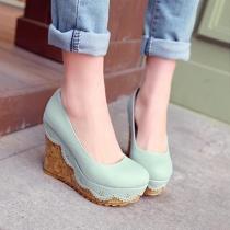 Fresh Style Round Toe Slip-on Wedge High-heeled Shoes