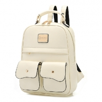 British Style Pure Color Backpack School Bag