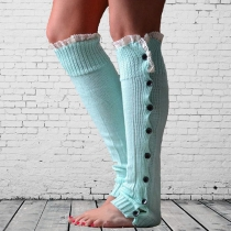 Fashion Lace Spliced Buttons Warm Knitted Sock Leg Warmer