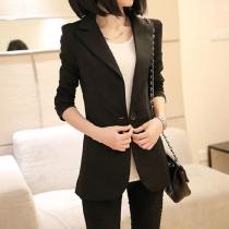 Office Ladies Black Red Career Business Suit Jacket Coat