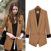 OL Style Slim Fit Long Sleeve Solid Color Blazer