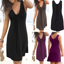 Fashion Solid Color Sleeveless Knotted V-neck Dress