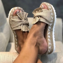 Casual Style Thick Sole Open Toe Outdoor Bow-knot Slipper