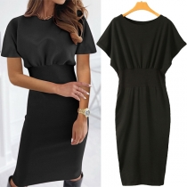 Fashion Solid Color Short Sleeve Round Neck High Waist Slim Fit Dress