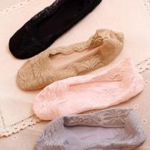 Fashion Anti-slip Invisible Lace Short Socks for Women
