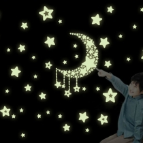Romantic Noctilucent Stars Moon DIY Wall Stickers