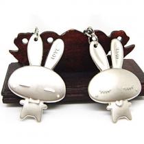 Cute Rabbit Metal Couple Keychain