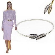 Fashion Gold/Silver-tone Leaf-shaped Elastic Waist Chain