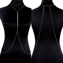 Fashion Gold-tone Pearl Tassel Body Chain