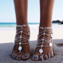 Retro Style Silver-tone Multi-layer Tassels Anklets