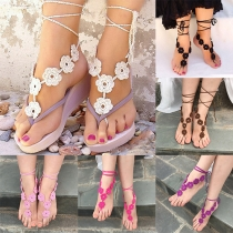 Fashion Style Flower Knitting Crocheted Anklets