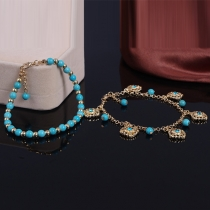 Bohemian Flowers Shaped Beads Tassel Rhinestone Anklet