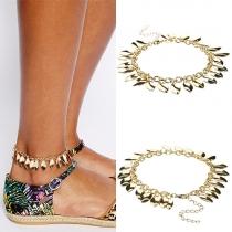 Fashion Alloy Gold Leaf Shaped Tassel Bracelet / Anklet