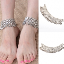 Fashion Retro Circle Bell Shaped Tassel Anklet Chain