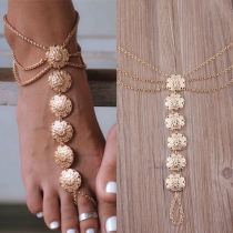 Bohemian Ethnic Carving Multilayer Tassel Anklet Chain