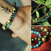 Fashion Retro Ethnic Manual Turquoise Beads Anklet Chain