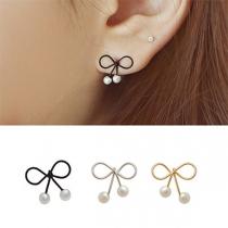 Fashion Elegant Bowknot Shaped Bead Stud Earring