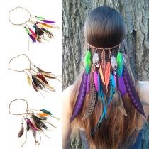 Ethnic Style Colorful Feathers Tassel Headband