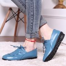 British Style Round Toe Flat Heel Lace-up Shoes
