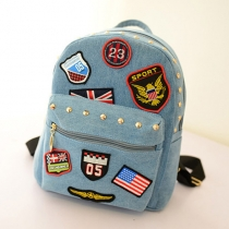 Fashion Badge American Flag Rivets Canvas Backpack