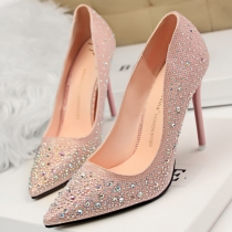 Fashion Pointed Toe Sequined Faux Cut-Out Cover Stiletto Pump