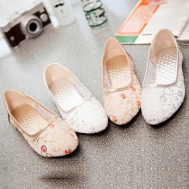 Fashion Pointed Toe Flat Heel Hollow Out Mesh Shoes