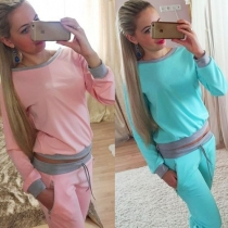 Fashion Contrast Color Backless Tops + Pants Casual Set