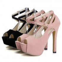 Elegant Crossover Ankle Strap High-heeled Peep Toe Sandals