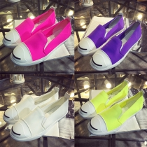 Fashion Contrast Color Round Toe Flat Heel Canvas Shoes