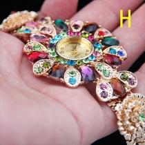 Bohemian Style Colorful Crystal Flower Rhinestone Bracelet Watch