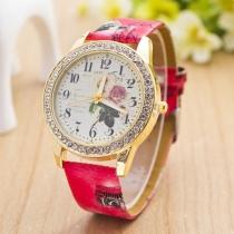 Retro PU Leather Watch Band Rhinestone Round Dial Women Quartz Watches