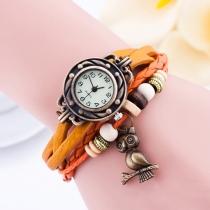 Vintage Owl Pendant Braided Bracelet Watch