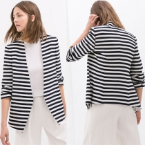 Fashion Long Sleeve Slim Fit Striped Blazer
