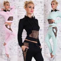 Fashion Leopard Spliced Long Sleeve Hooded Tops + Pants Sports Suit