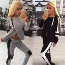 Fashion Long Sleeve Irregular Hooded Tops + Pants Sports Suit