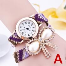 Fashion Rhinestone Bowknot PU Leather Watch Band Quartz Watches
