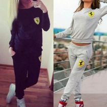 Fashion Solid Color Long Sleeve Round Neck Casual Sports Suit