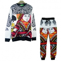 Fashion Playing Cards Printed Long Sleeve Round Neck Sports Suit