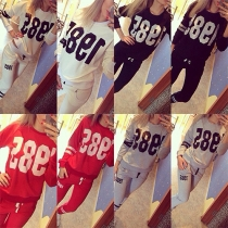 Fashion Numbers Printed Long Sleeve Round Neck Sports Suit