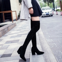 Fashion Pointed Toe Thick High-heeled Over The Knee Boots