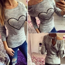Fashion Long Sleeve Round Neck Heart Pattern Knit Thin top
