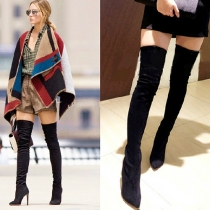 Fashion Pointed Toe High-heel Side Zipper Over The Knee Boots