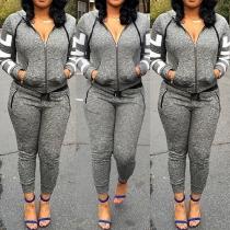 Fashion Long Sleeve Hooded Sweatshirt + Pants Sports Suit
