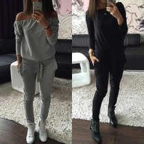 Fashion Long Sleeve Slash Neck Jumpsuit