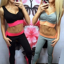 Fashion Contrast Color Sleeveless Crop Tops + High Waist Pants Sports Suit